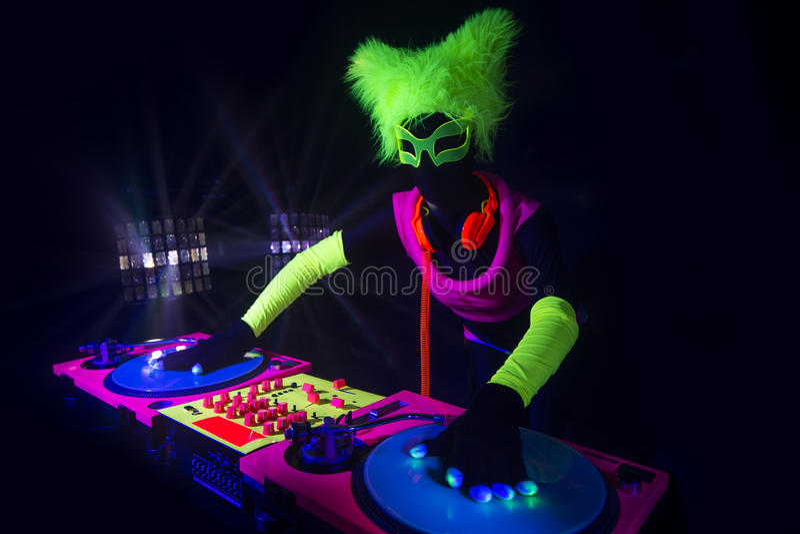 Sexy Neonuvglühen DJ stockfotos