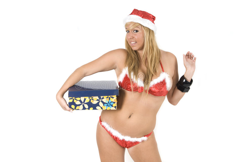 Download Noel holding a present stock image. Image of pretty, person - 7347153