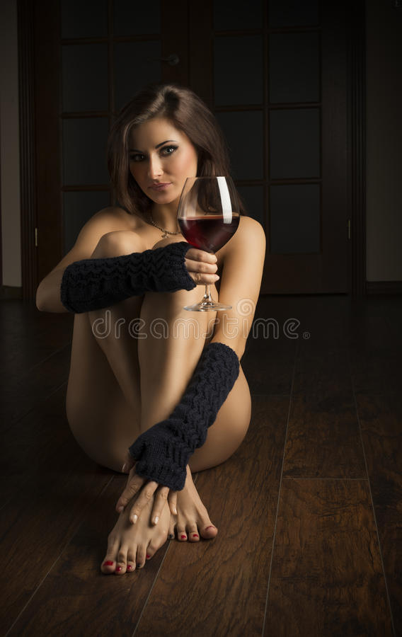 Topless girl abs wine glass thanks for