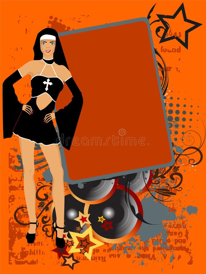 Download Nun stock vector. Image of music, black, drawing, party - 22088494