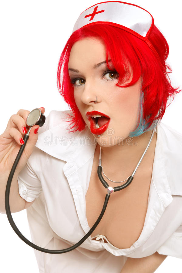 Download Nurse stock image. Image of pinup, white, redhead, appeal - 13162649