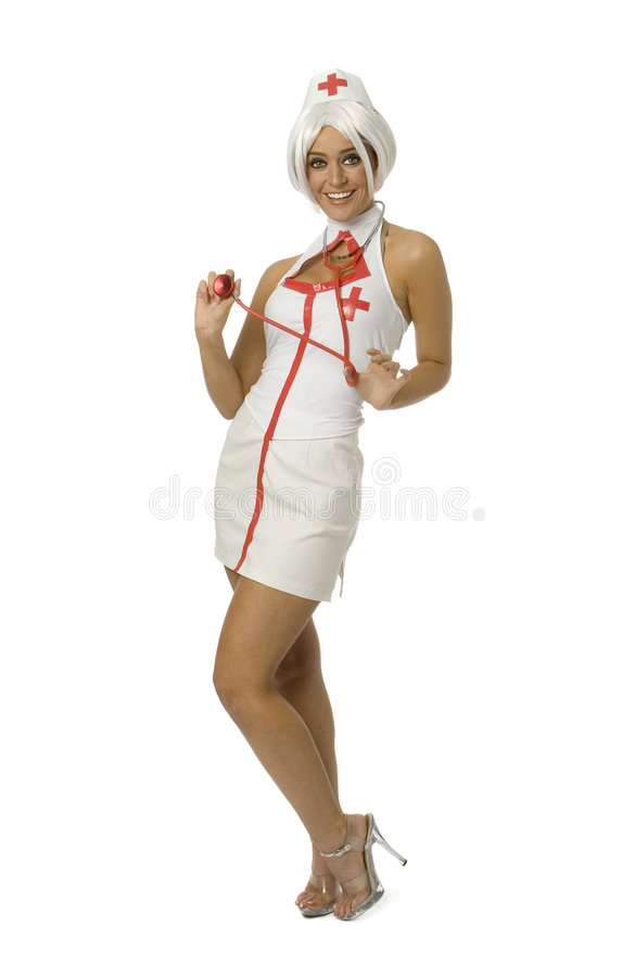 Nurse. Full length view of attractive woman in nurse outfit stock images