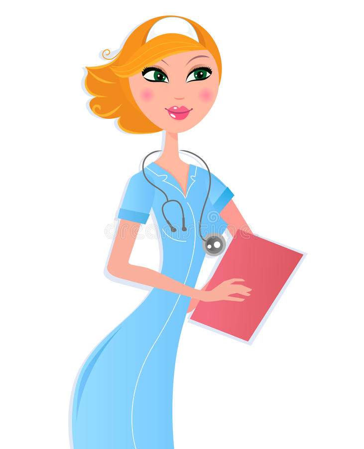 Nurse With Document Isolated On White Stock Photos