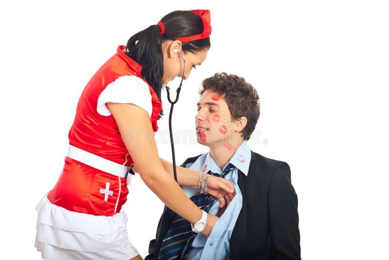 Nurse Examine Lover Patient Royalty Free Stock Photos