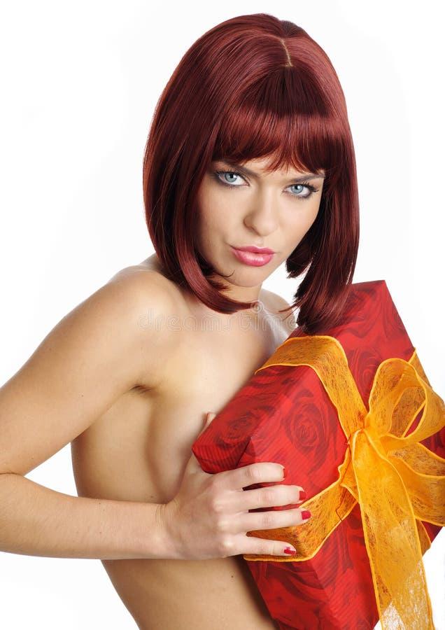 sexy opakowań prezentu gospodarstwa zdjęcia stock