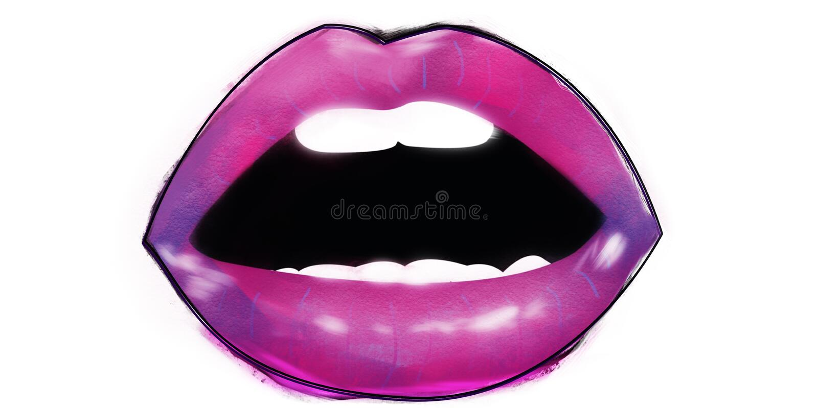 open mouth with fuchsia and violet lipstick and lips white teeth royalty free stock images