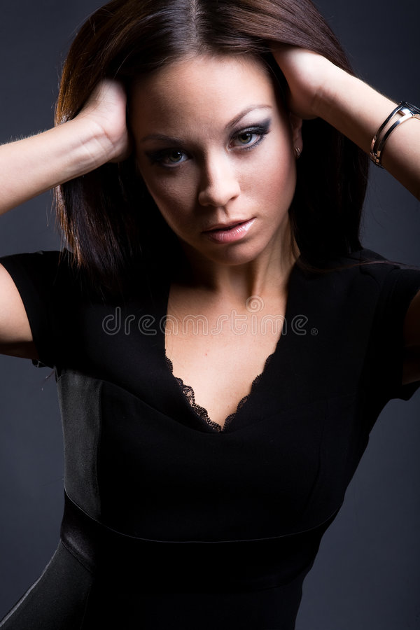 passionate girl with long smooth hair royalty free stock images