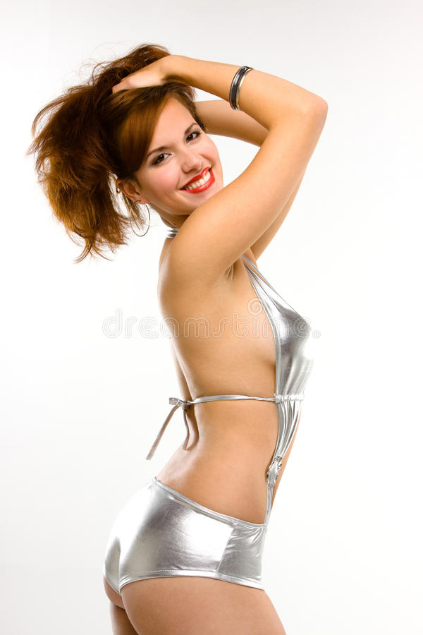 Download Pin-up Girl Smiling And Posing Stock Photo - Image: 12498476