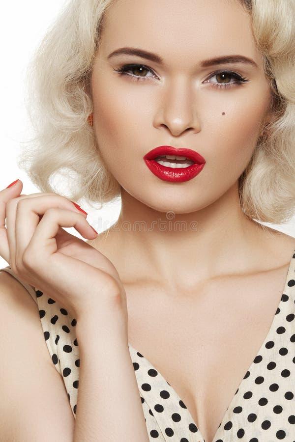 Sexy pin-up, retro make-up. Fashion blond model