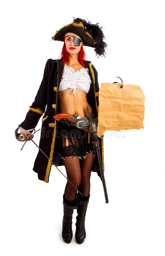 Sexy pirate captain royalty free stock photo