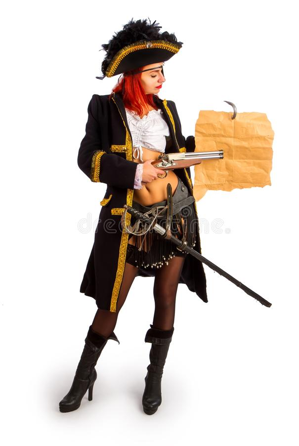 Sexy pirate captain stock image