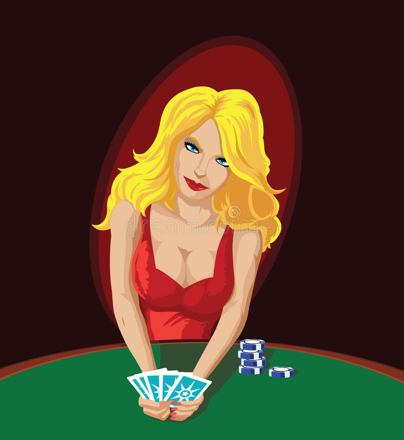 Poker Player. Distracting you with her sensuality stock illustration