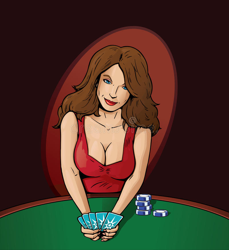 Poker Player. Distracting you with her sensuality vector illustration