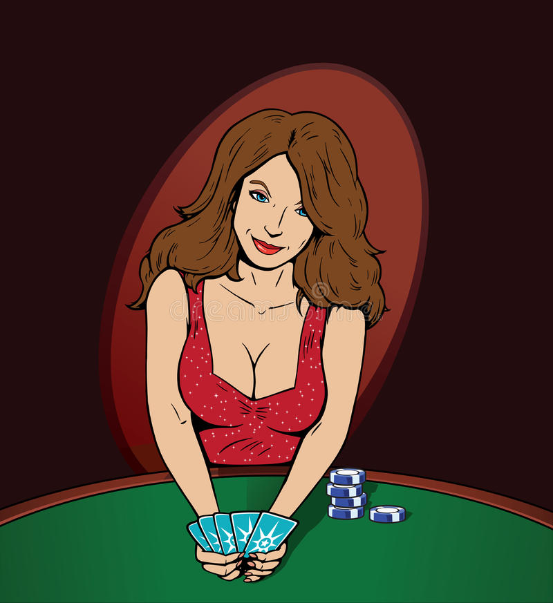 Poker Player. Distracting you with her sensuality royalty free illustration