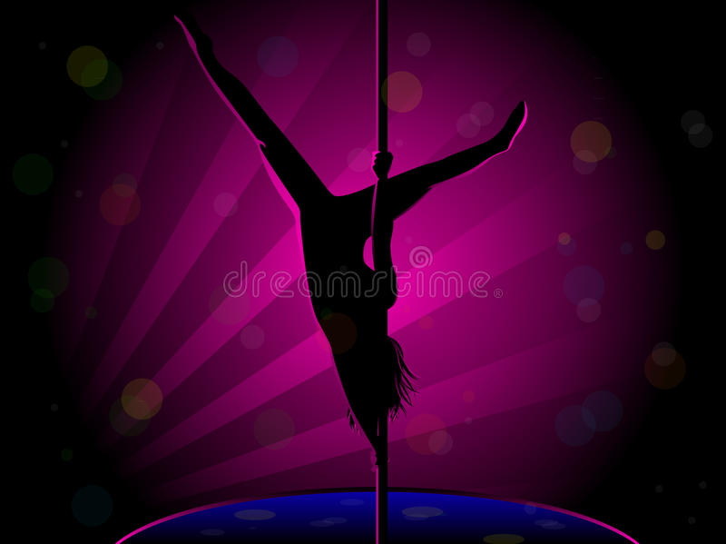 Pole Dance Silhouette Stock Photo