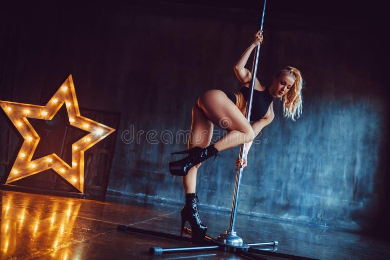 pole dancing woman royalty free stock photos