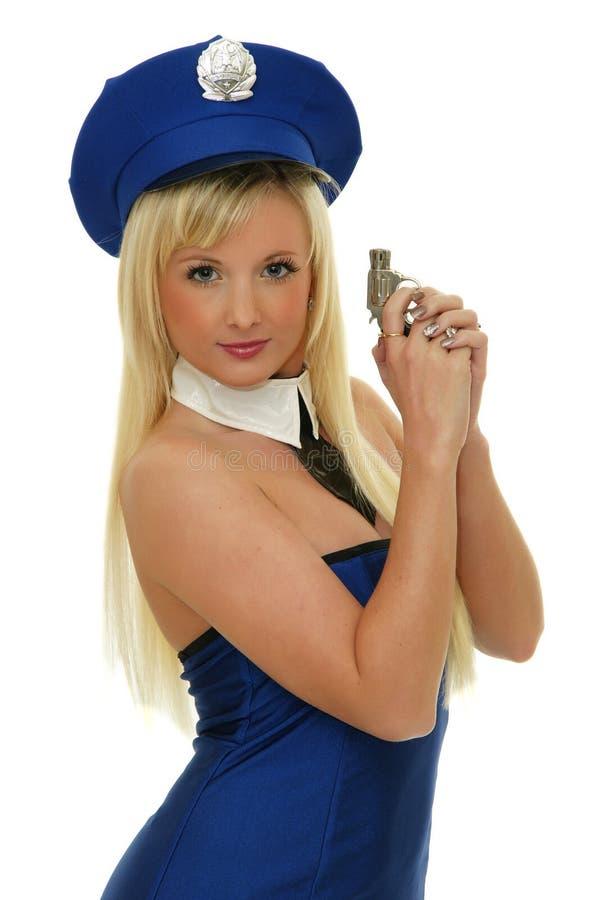 Download Police girl holding gun stock photo. Image of dangerous - 28113124