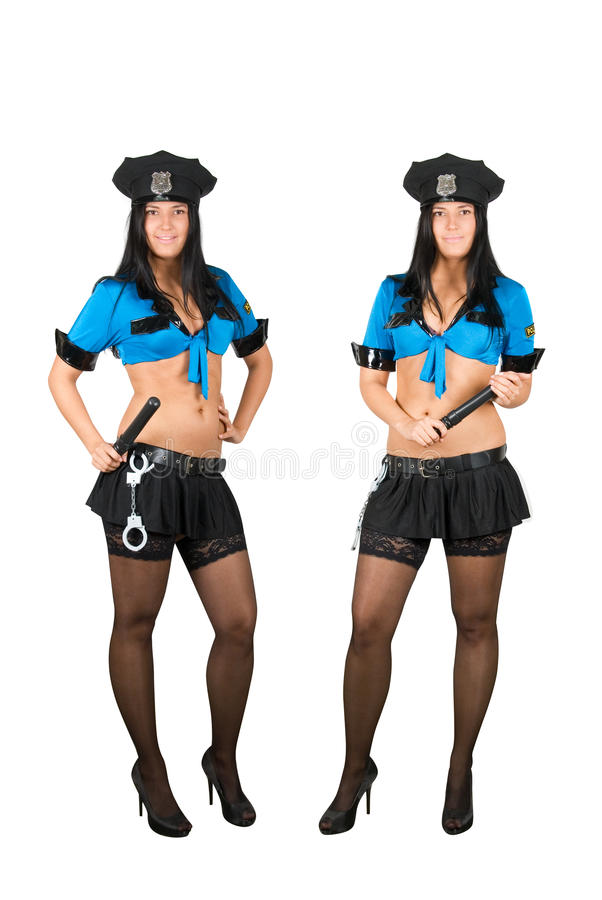 Policewoman. Isolated on a white royalty free stock image