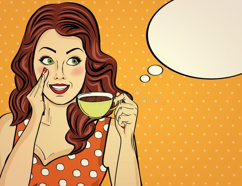 pop art woman with coffee cup vector illustration