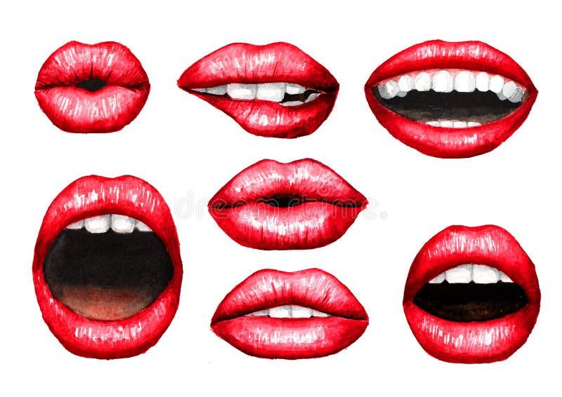 Sexy pralle geschwollene Lippen mit rotem Lippenstiftsatz Gezeichnete Illustration des Aquarells Hand, lokalisiert auf weißem Hin lizenzfreie abbildung