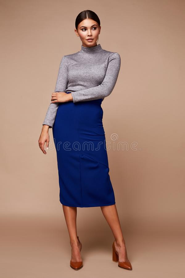 Free Sexy Pretty Fashion Woman Wear Blouse Skirt Casual Trend Clothes Collection Catalogue Long Brunette Hair Party Style Model Pose Royalty Free Stock Image - 159193616