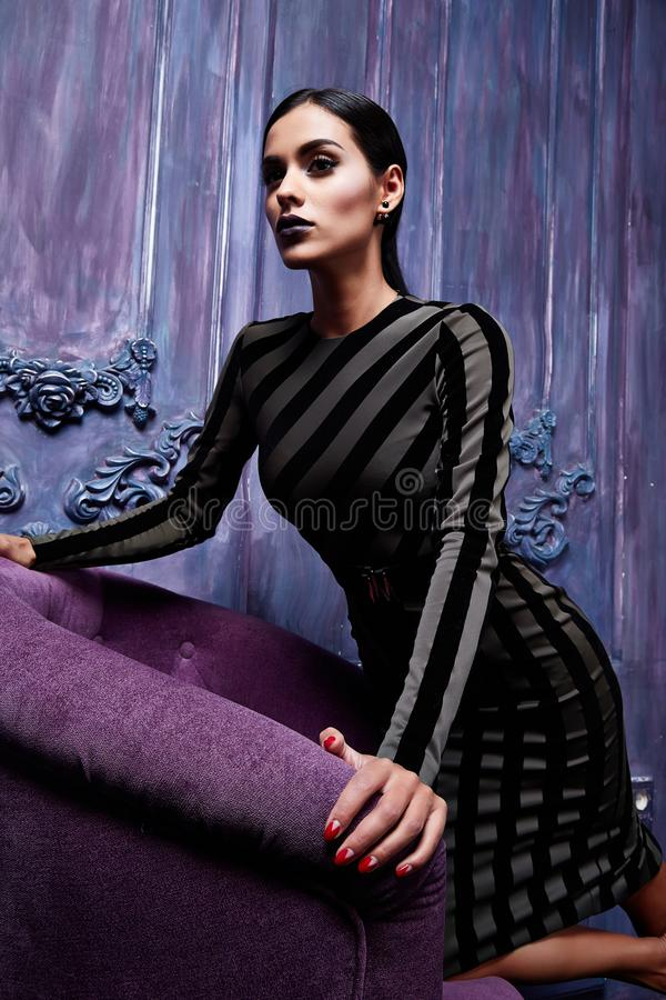 pretty woman wear skinny clothes style for party office dre stock image