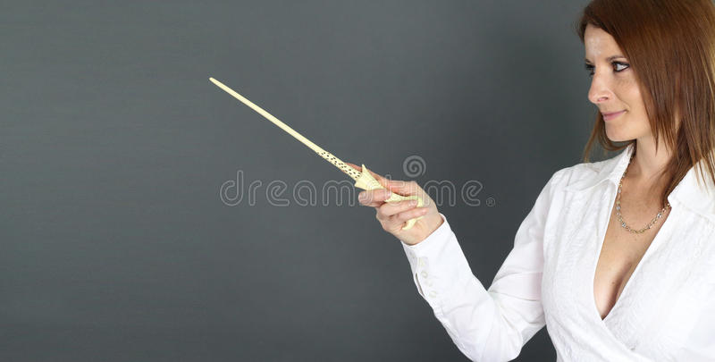 Professor holding a magic wand. Over a gray background royalty free stock images