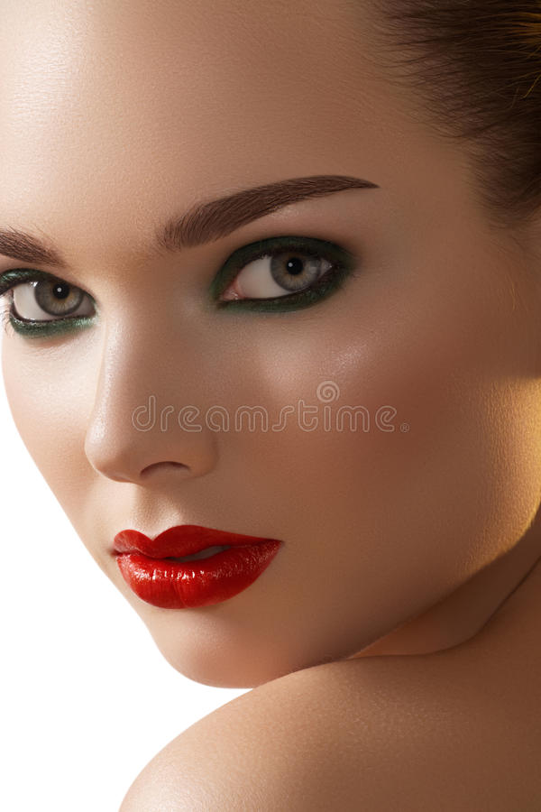 Download Red Lips, Smoky Make-up On Fashion Model Face Stock Image - Image: 21924475