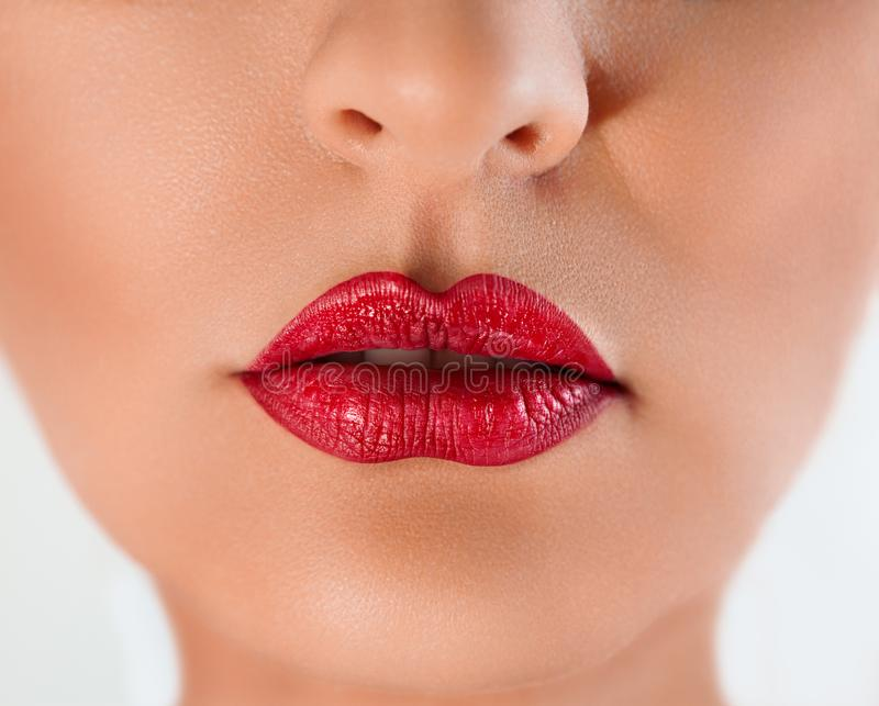 red lips of a woman stock image