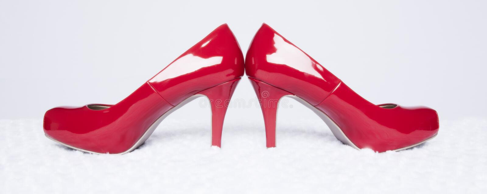 Red Pumps Panorama royalty free stock photo