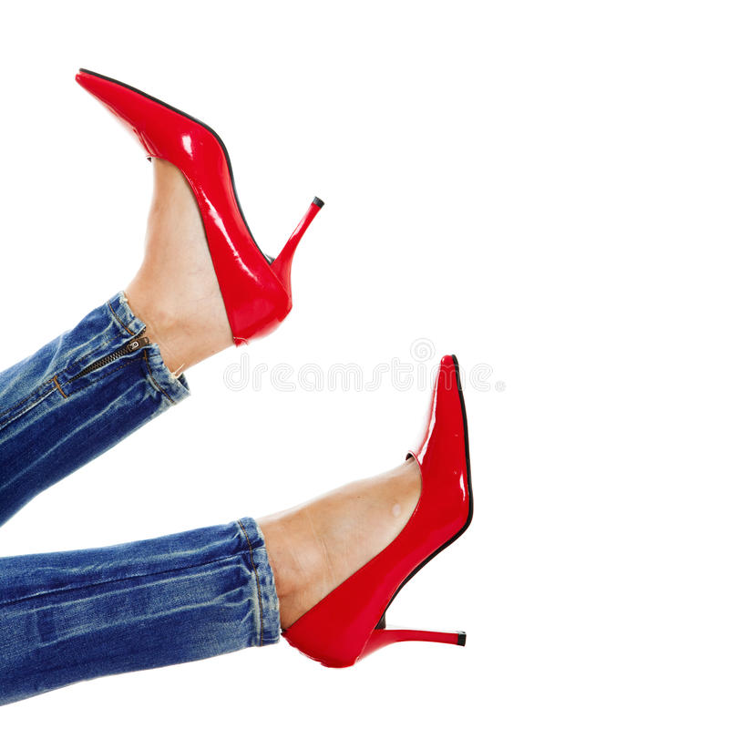 Download Red Shoes stock photo. Image of girl, shoes, sofa, female - 12305988