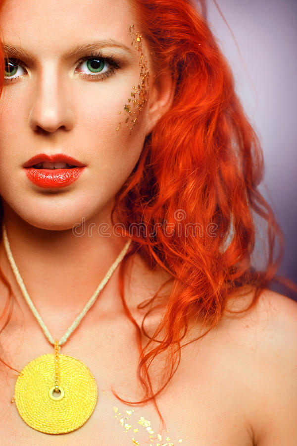 Download Redhead Girl With An Unusual Makeup And A Nec Stock Image - Image: 19564663