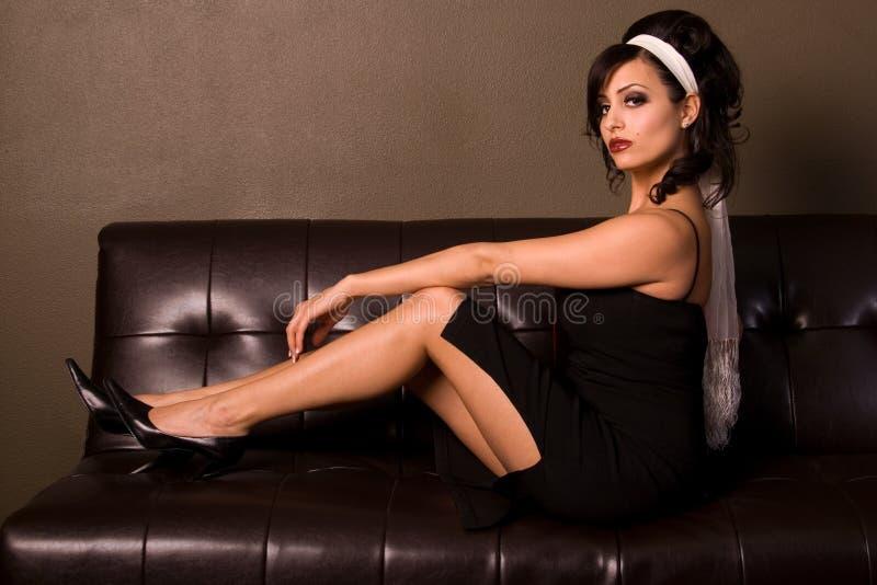 Sexy retro maniervrouw. royalty-vrije stock afbeeldingen