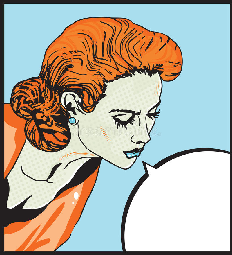 Retro woman Comic Love illustration of Pop Art girl with the speech bubble royalty free illustration