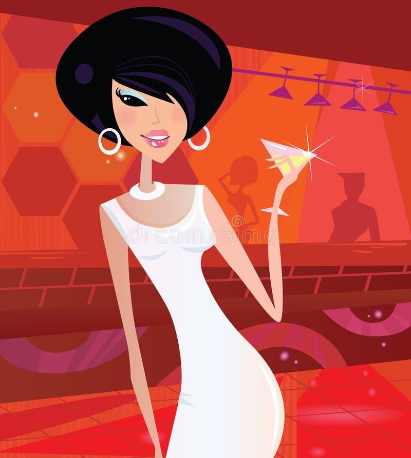 retro woman in night club stock illustration