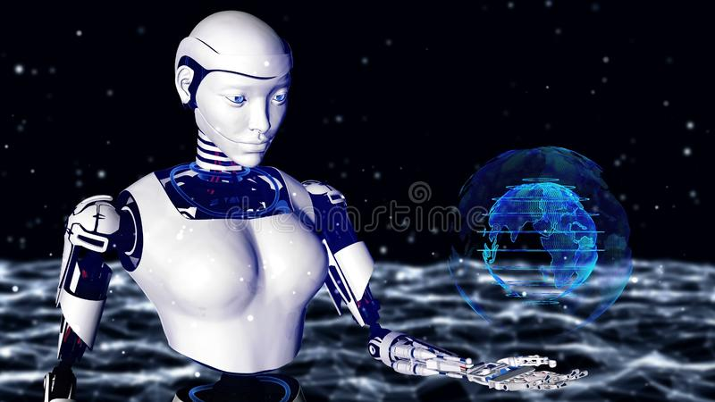 Sexy robot android woman holding a digital planet earth.. Cyborg future technology, artificial intelligence, computer technology,. Humanoid science. 3D stock illustration