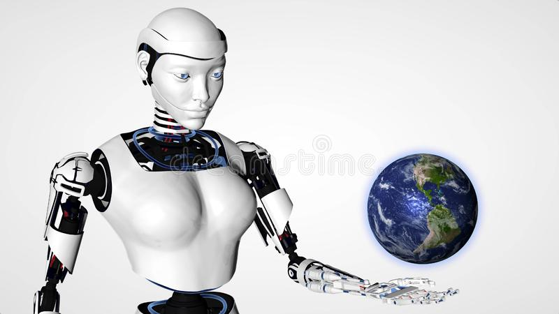 Sexy robot android woman holding planet earth.. Cyborg future technology, artificial intelligence, computer technology, humanoid. Science stock illustration