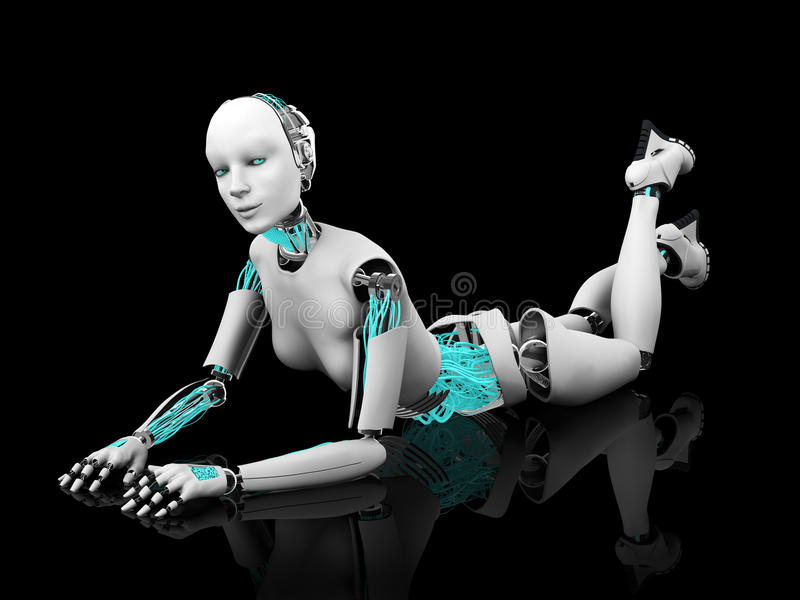 Robot woman posing on the floor nr 2. A female robot lying on her stomach on the floor. Black background vector illustration