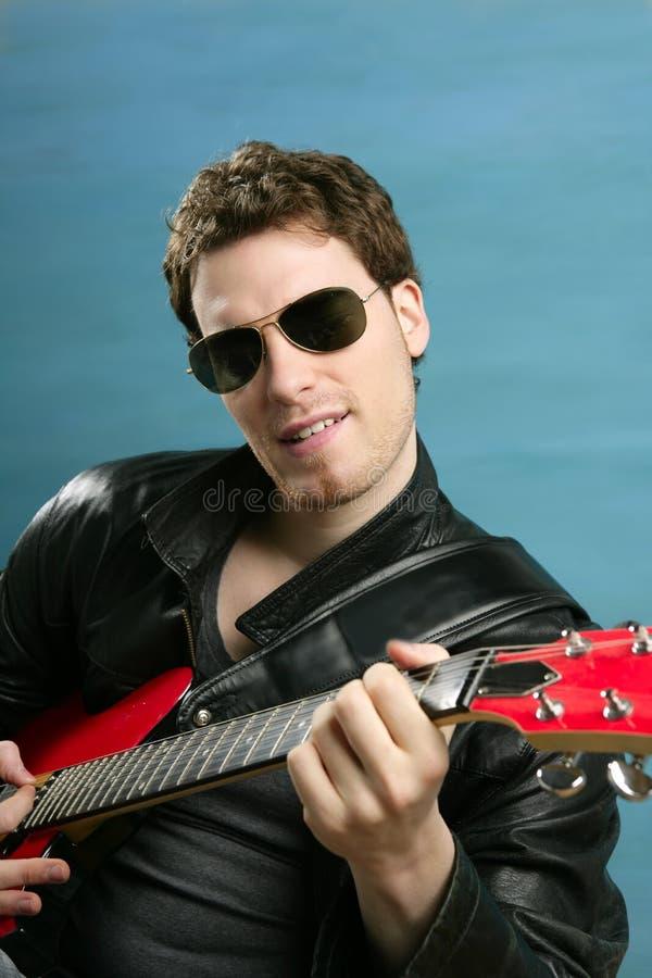 rock man sunglasses leather jacket stock image