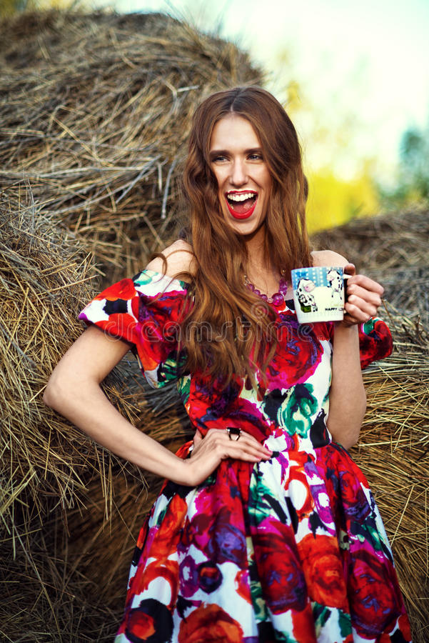 Sexy rothaariges Mädchen in einem Kleid im Heu lizenzfreies stockbild
