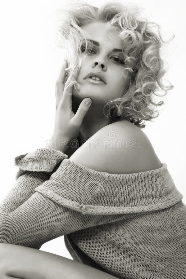 Sanny. Black-and-white photo with toning of the beautiful, sensual, sexual, blonde
