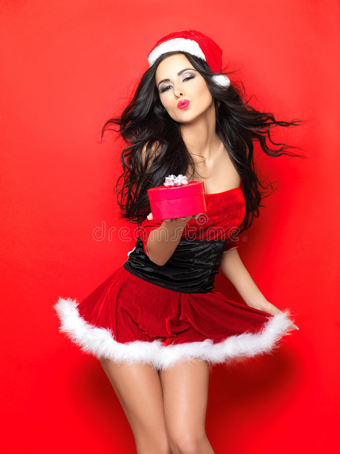 Download Santa stock image. Image of female, beauty, bright, brunette - 17093783