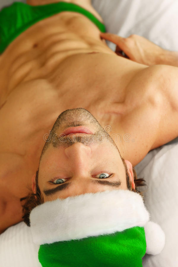 Santa in bed stock image
