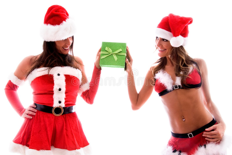 Download Santa girls. stock image. Image of holiday, ladies, beautiful - 3674529