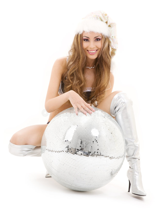 Download Santa Helper With Big Disco Ball Stock Image - Image: 6503141