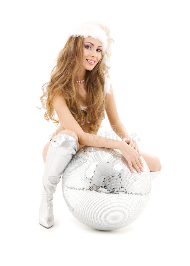Download Santa Helper With Big Disco Ball Stock Image - Image of clubbing, entertainer: 6503431