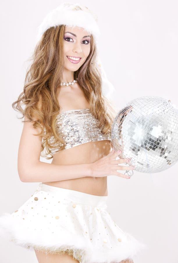 santa helper with disco ball stock photos