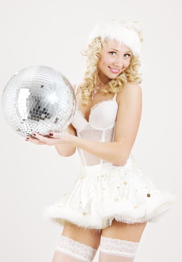 Santa helper with disco ball. Picture of santa helper with disco ball stock images