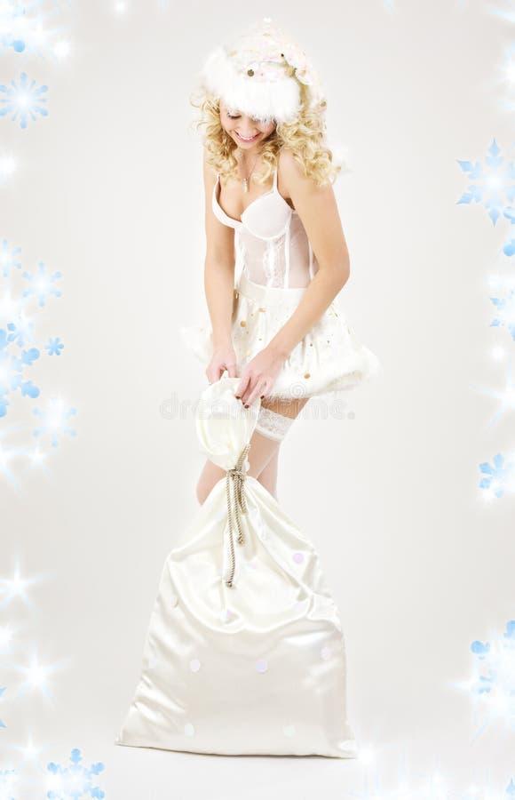 Download Santa Helper Girl With Big Bag Stock Image - Image: 7223917