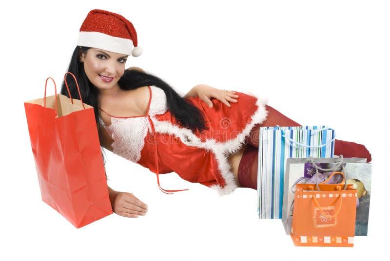 Download Santa woman stock photo. Image of shopping, pretty, provocative - 7093244